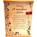 Dyplom z okazji 18 urodzin Jubilatce